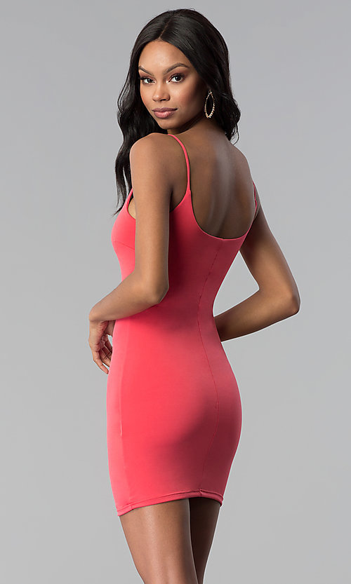 Image of short bodycon cocktail party dress in coral pink. Style: BLU-BD8203 Back Image