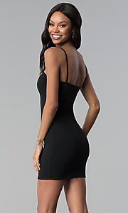 Image of short bodycon black cocktail party dress. Style: BLU-BD9009 Back Image