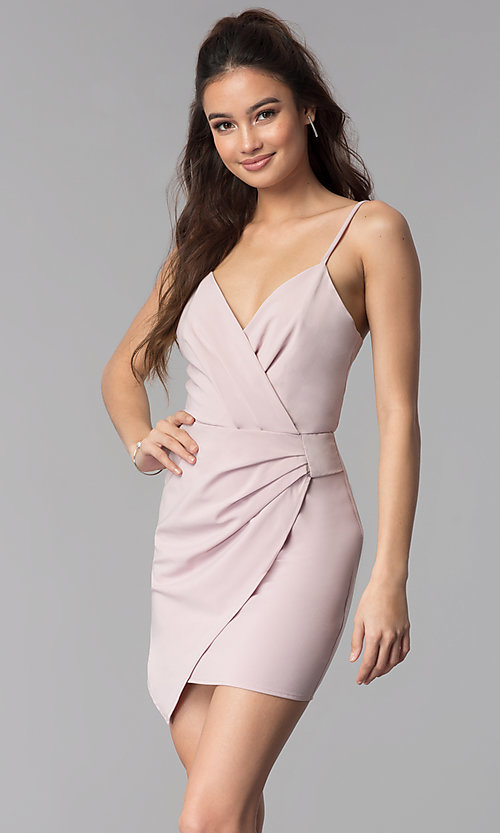 Image of short faux-wrap v-neck wedding guest party dress. Style: BLU-IBD8920 Front Image