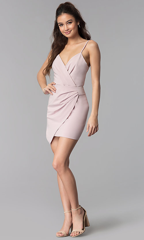 Image of short faux-wrap v-neck wedding guest party dress. Style: BLU-IBD8920 Detail Image 2