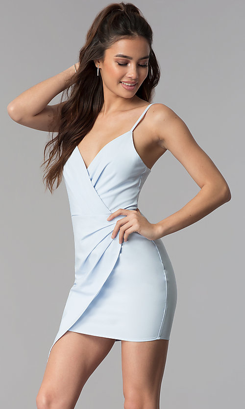 Image of short faux-wrap v-neck wedding guest party dress. Style: BLU-IBD8920 Detail Image 3