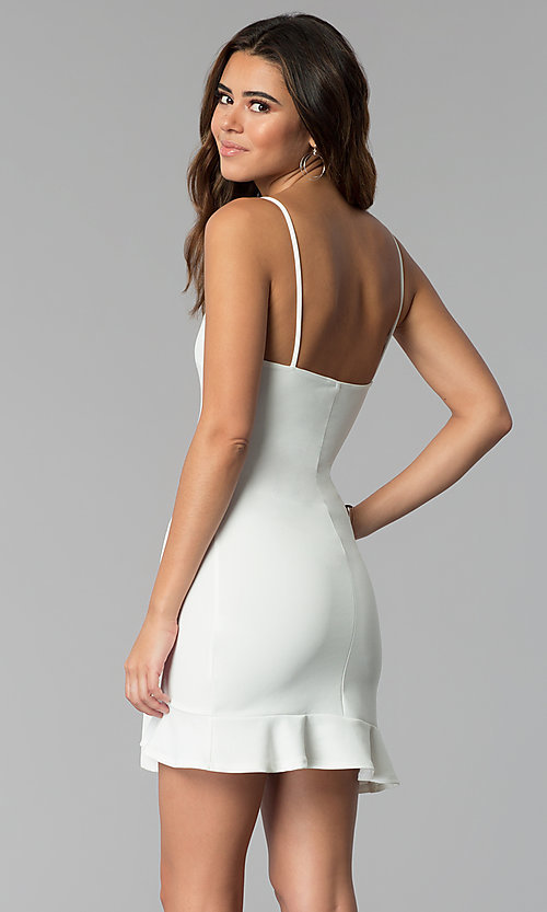 Image of short white graduation party wrap dress with ruffle. Style: BLU-BD8837 Back Image