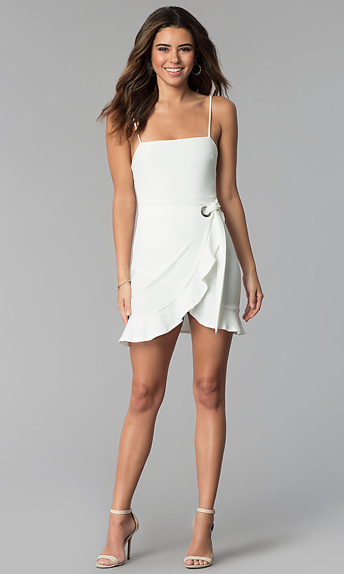 Image of short white graduation party wrap dress with ruffle. Style: BLU-BD8837 Detail Image 3
