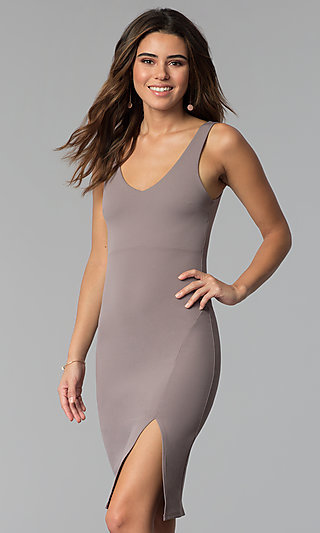 Bodycon Short Wedding-Guest Party Dress in Smoke