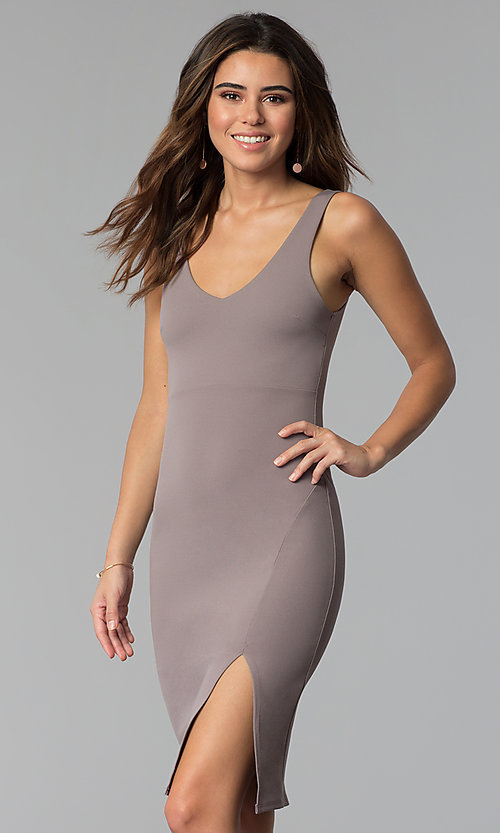 Image of bodycon short wedding-guest party dress in smoke.  Style: BLU-BD9037 Front Image
