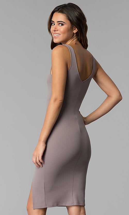 Image of bodycon short wedding-guest party dress in smoke.  Style: BLU-BD9037 Back Image