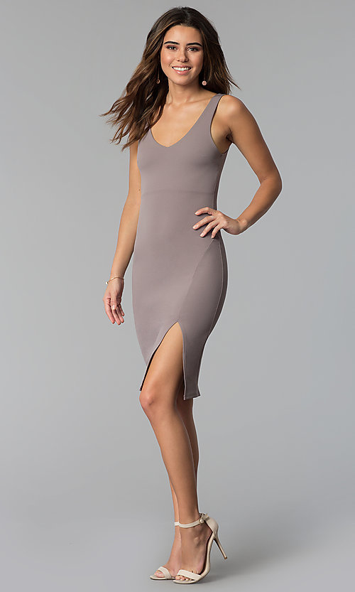 Image of bodycon short wedding-guest party dress in smoke.  Style: BLU-BD9037 Detail Image 3