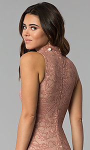Image of high-neck lace short mauve sheath party dress. Style: BLU-BD9050 Detail Image 2