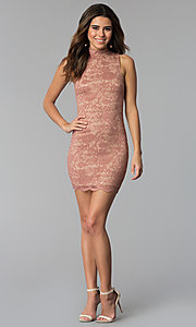 Image of high-neck lace short mauve sheath party dress. Style: BLU-BD9050 Detail Image 3