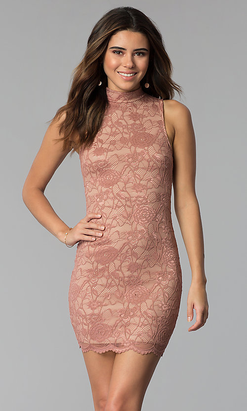Image of high-neck lace short mauve sheath party dress. Style: BLU-BD9050 Front Image