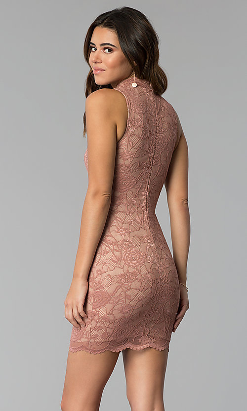 Image of high-neck lace short mauve sheath party dress. Style: BLU-BD9050 Back Image