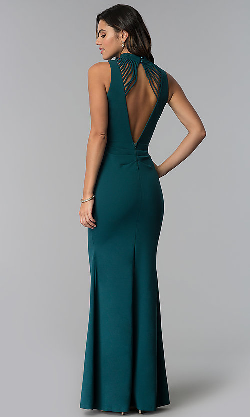 e91a89158cc Image of long high-neck sleeveless prom dress with slit. Style  SY-