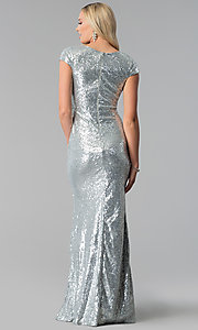 Image of cap-sleeve long sequin prom dress with deep v-neck. Style: SY-IDM5553VP Back Image