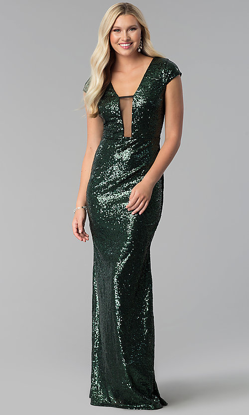 Image of cap-sleeve long sequin prom dress with deep v-neck. Style: SY-IDM5553VP Detail Image 2