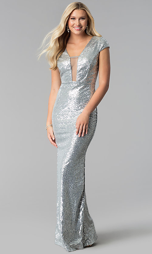 Image of cap-sleeve long sequin prom dress with deep v-neck. Style: SY-IDM5553VP Front Image