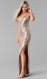 Image of long open-back v-neck sequin prom dress with slit. Style: SY-IDM5565VP Detail Image 2