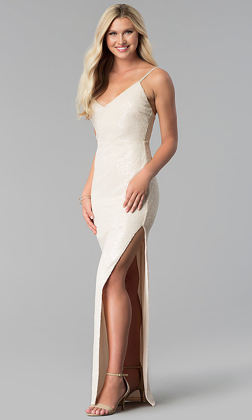 Image of long open-back v-neck sequin prom dress with slit. Style: SY-IDM5565VP Detail Image 3
