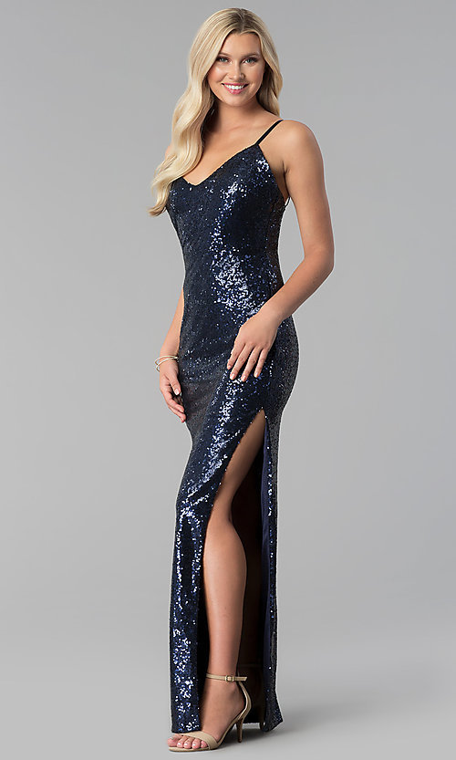 Image of long open-back v-neck sequin prom dress with slit. Style: SY-IDM5565VP Front Image