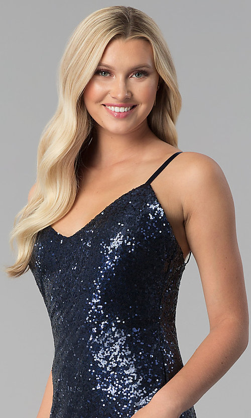 Image of long open-back v-neck sequin prom dress with slit. Style: SY-IDM5565VP Detail Image 1