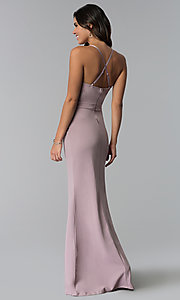 Image of long prom dress with lace v-neckline. Style: SY-IDM5575VP Back Image