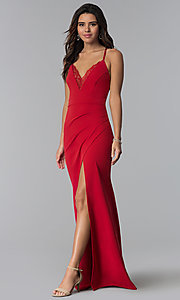 Image of long prom dress with lace v-neckline. Style: SY-IDM5575VP Detail Image 3