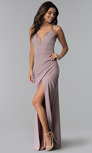 Long Prom Dress with Lace V-Neckline