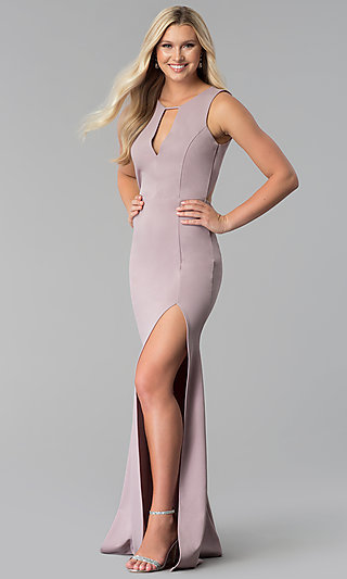 Long High-Neck Open-Back Prom Dress with Side Slit