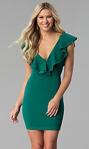 Image of emerald green short ruffled v-neck party dress. Style: SY-ID5577VP Front Image