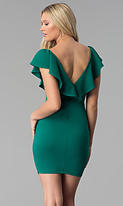 Image of emerald green short ruffled v-neck party dress. Style: SY-ID5577VP Back Image