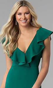 Image of emerald green short ruffled v-neck party dress. Style: SY-ID5577VP Detail Image 2