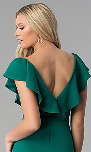 Image of emerald green short ruffled v-neck party dress. Style: SY-ID5577VP Detail Image 3
