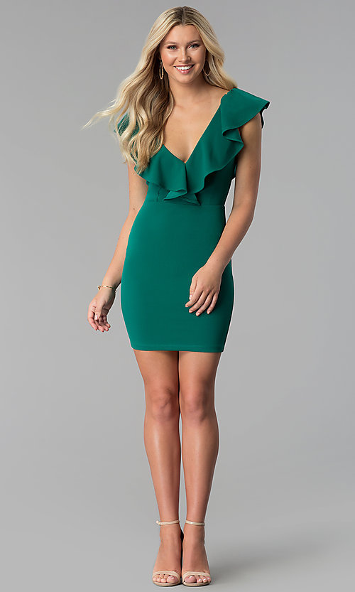 Image of emerald green short ruffled v-neck party dress. Style: SY-ID5577VP Detail Image 1