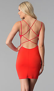 Image of caged-open-back short red party dress. Style: SY-ID5582VP Back Image