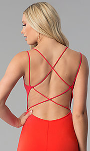 Image of caged-open-back short red party dress. Style: SY-ID5582VP Detail Image 2