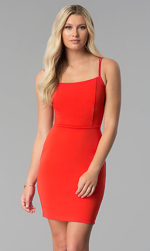 Image of caged-open-back short red party dress. Style: SY-ID5582VP Front Image