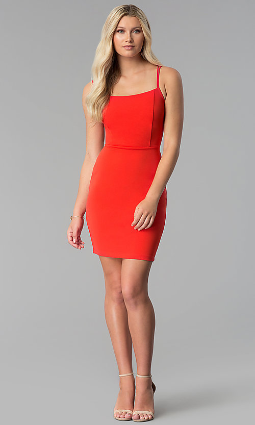 Image of caged-open-back short red party dress. Style: SY-ID5582VP Detail Image 3