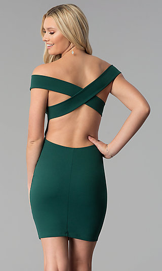 Open-Back Off-the-Shoulder Short Bodycon Party Dress