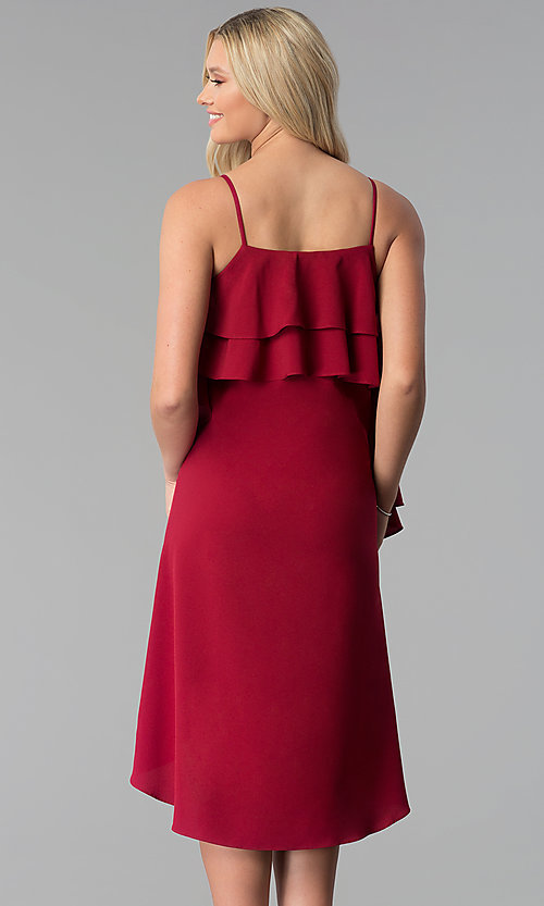 Image of knee-length burgundy party dress with tiered flounce. Style: SY-KD5578EY Back Image