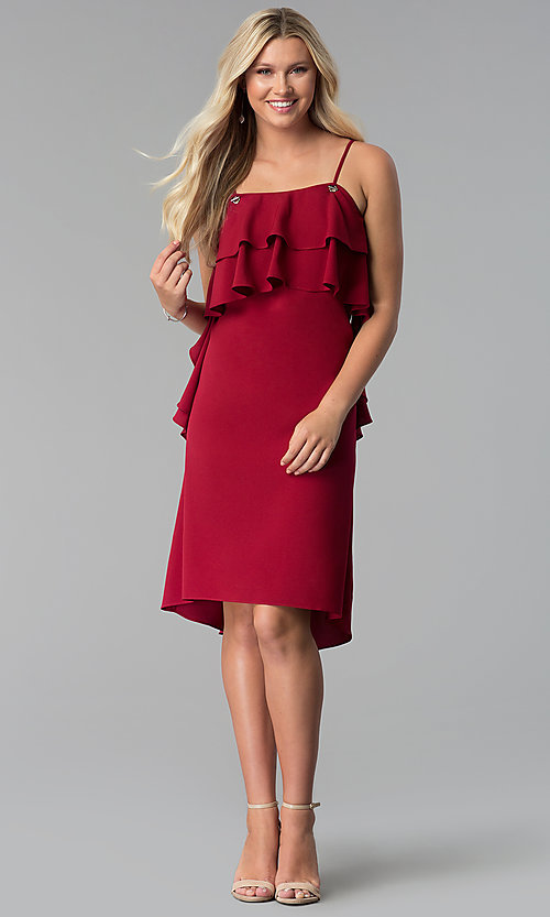Image of knee-length burgundy party dress with tiered flounce. Style: SY-KD5578EY Detail Image 3