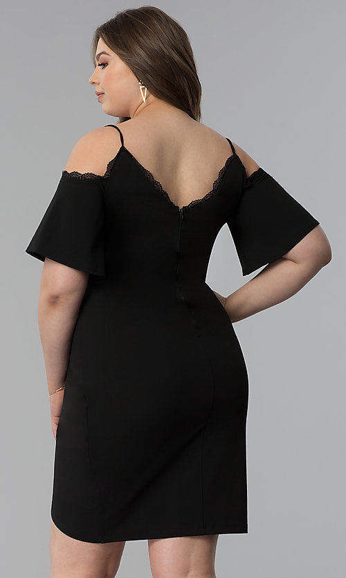Image of cold-shoulder short plus-size cocktail party dress.  Style: SY-IXD5104AP Back Image