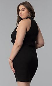 Image of short plus-size high-neck cocktail party dress. Style: SY-IXD5664VP Back Image