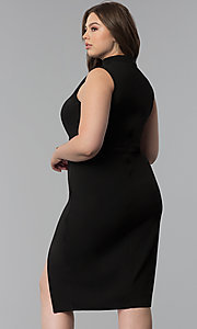 Image of side-slit short plus-size cocktail party dress. Style: SY-IXD5681AP Detail Image 4