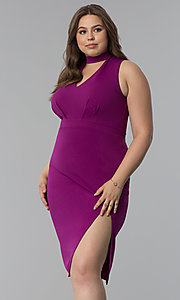 Image of side-slit short plus-size cocktail party dress. Style: SY-IXD5681AP Front Image
