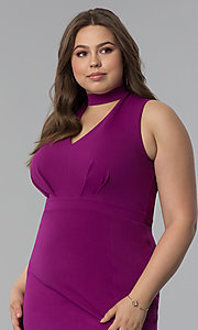 Image of side-slit short plus-size cocktail party dress. Style: SY-IXD5681AP Detail Image 2