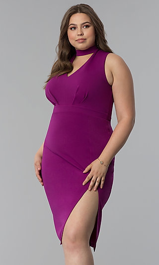 Side-Slit Short Plus-Size Cocktail Party Dress
