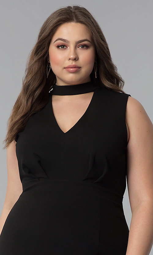 Image of side-slit short plus-size cocktail party dress. Style: SY-IXD5681AP Detail Image 5