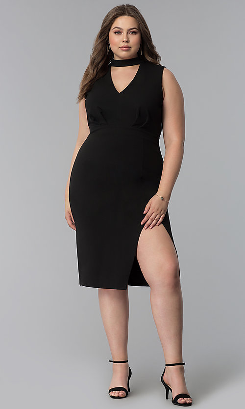 Image of side-slit short plus-size cocktail party dress. Style: SY-IXD5681AP Detail Image 6