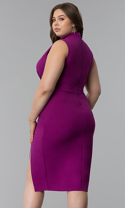 Image of side-slit short plus-size cocktail party dress. Style: SY-IXD5681AP Back Image