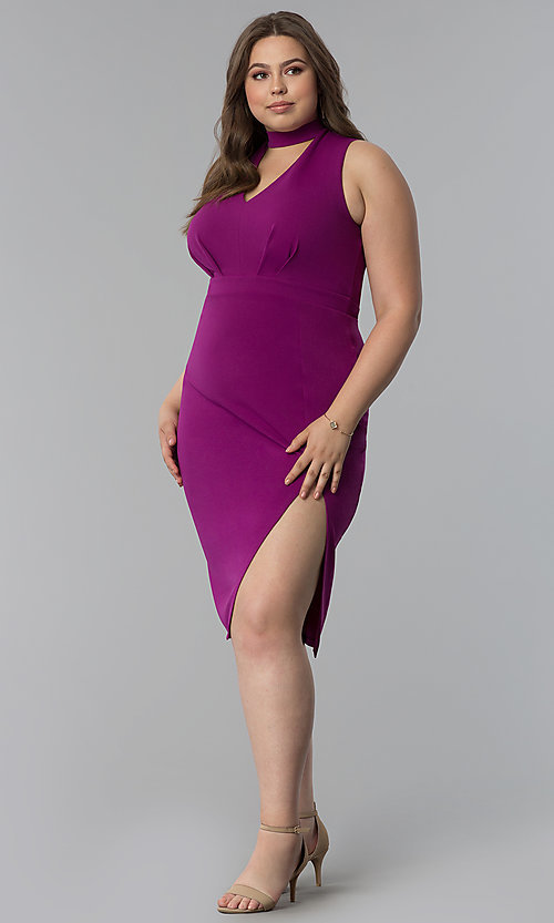 Image of side-slit short plus-size cocktail party dress. Style: SY-IXD5681AP Detail Image 1