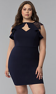 Image of navy blue plus-size lace-cap-sleeve party dress. Style: SY-IXD5723VP Front Image